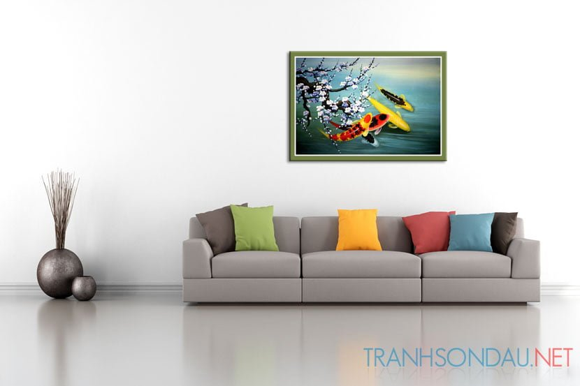 Minimalist living room with white wall and colorful sofa – rendering