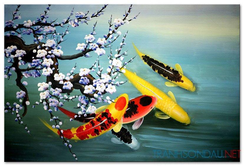 Cá Chép Dưới Bóng Hoa Đào M089