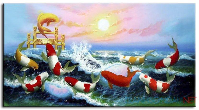 Ý nghĩa tranh sơn dầu Cá chép vượt vũ môn