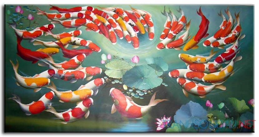 Đàn Cá Chép Trong Ao Sen M065