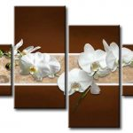 Tranh bộ hoa lan trắng M012