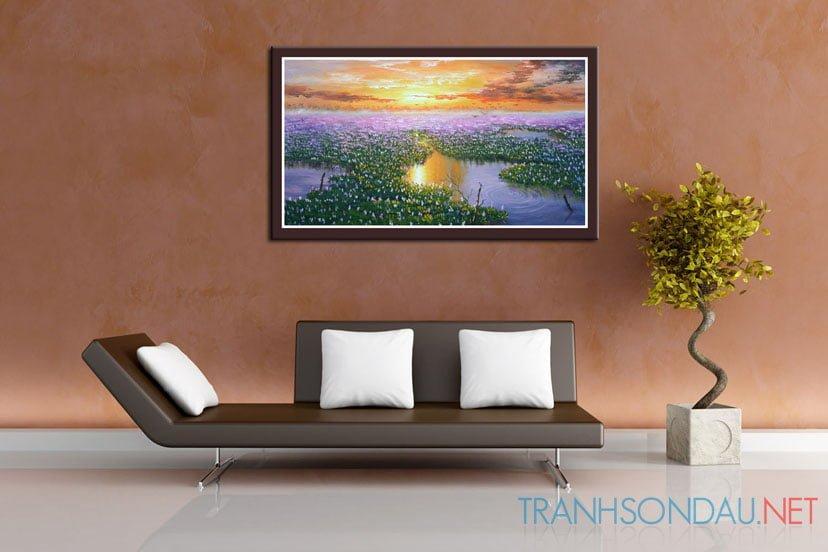 Tranh sơn dầu Hoàng Hôn Trền Hồ Sen M432