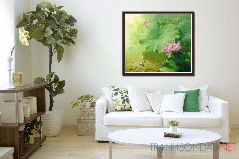 Tranh sơn dầu Hương Sắc Hoa Sen M433