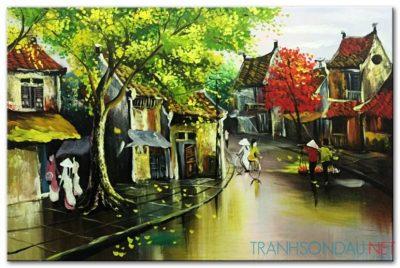 Tranh sơn dầu Phố Cổ Hà Nội M446