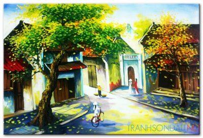 Tranh sơn dầu Phố Cổ Hà Nội M458