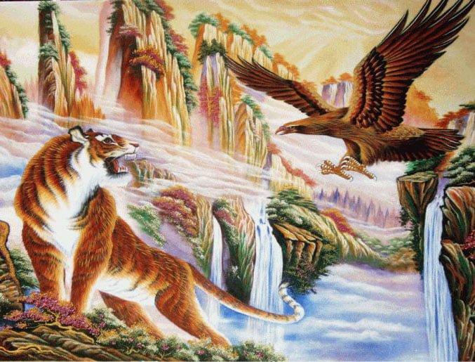 Tranh sơn dầu Anh Hùng Tương Ngộ