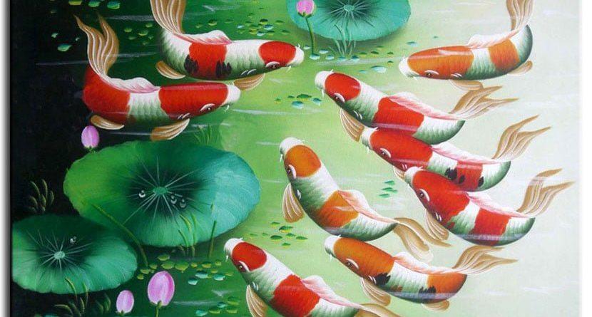 Ý nghĩa tranh sơn dầu cá chép và hoa sen