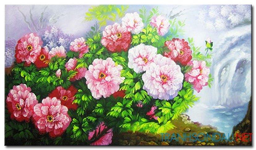 Tranh sơn dầu Hoa Mẫu Đơn