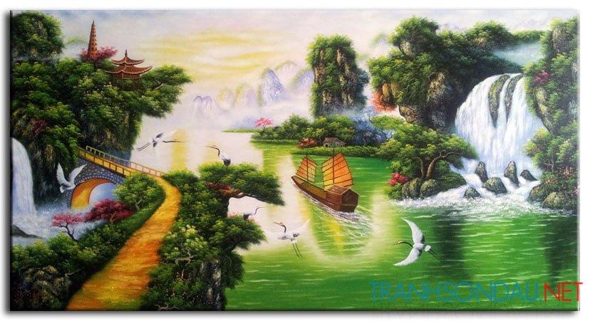 Ý nghĩa tranh sơn dầu Tùng Hạc nghênh khách
