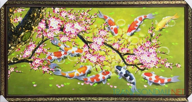 tranh ca chep va hoa dao m730-1