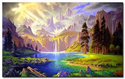 Phong Cảnh Thác Nước Trên Núi M998