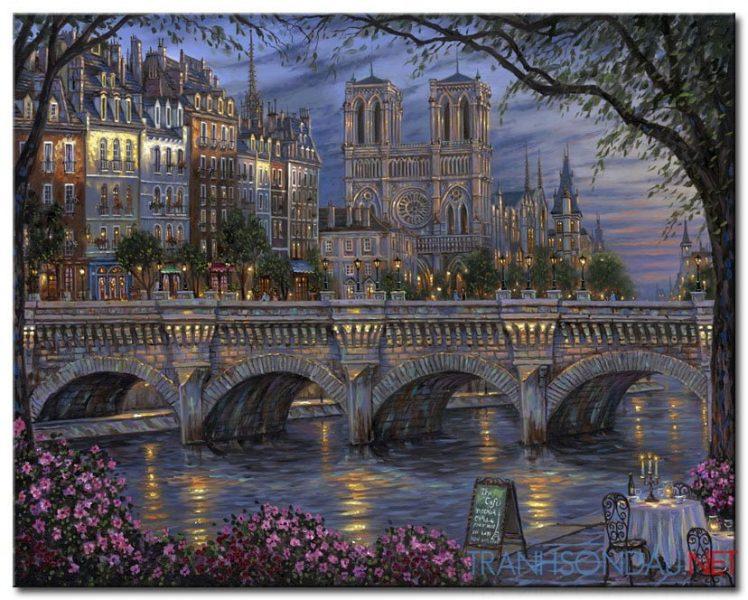 Tranh sơn dầu Phố Đêm M1183 – Tranh Phong Cảnh đẹp
